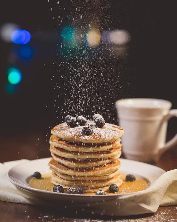 ブルーベリー, 朝食, パンケーキ, ぼかし, クローズ アップ, おいしい, 食品, 贖宥, 菓子