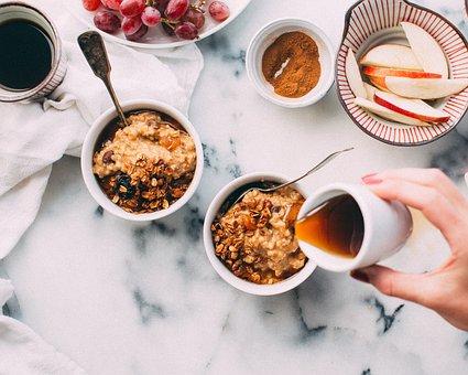 ボウル, 刃物, 食品, 果物, 蜂蜜, スプーン, テーブル