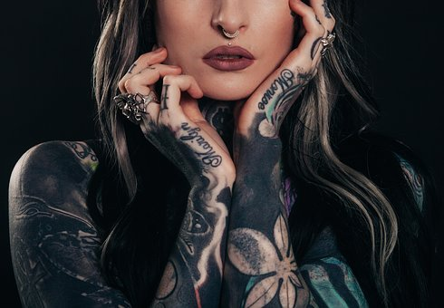 Adult, Tattoos, Body Art, Dark, Girl