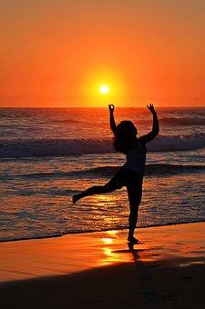 Dance, Ocean, Sea, Silhouette, Sun