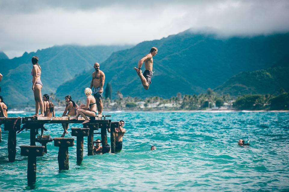 ビーチ, 楽しい, 風景, レジャー, 海, 人, レクリエーション, 緩和, リゾート, 海岸, 夏, 太陽