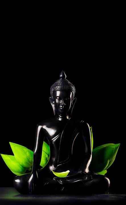 Art Black Buddha Ceramic Dark Figurine Lotus