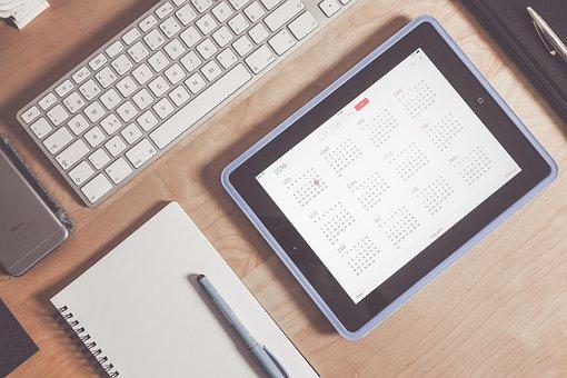 Apple, Calendar, Desk, Ipad, Tablet