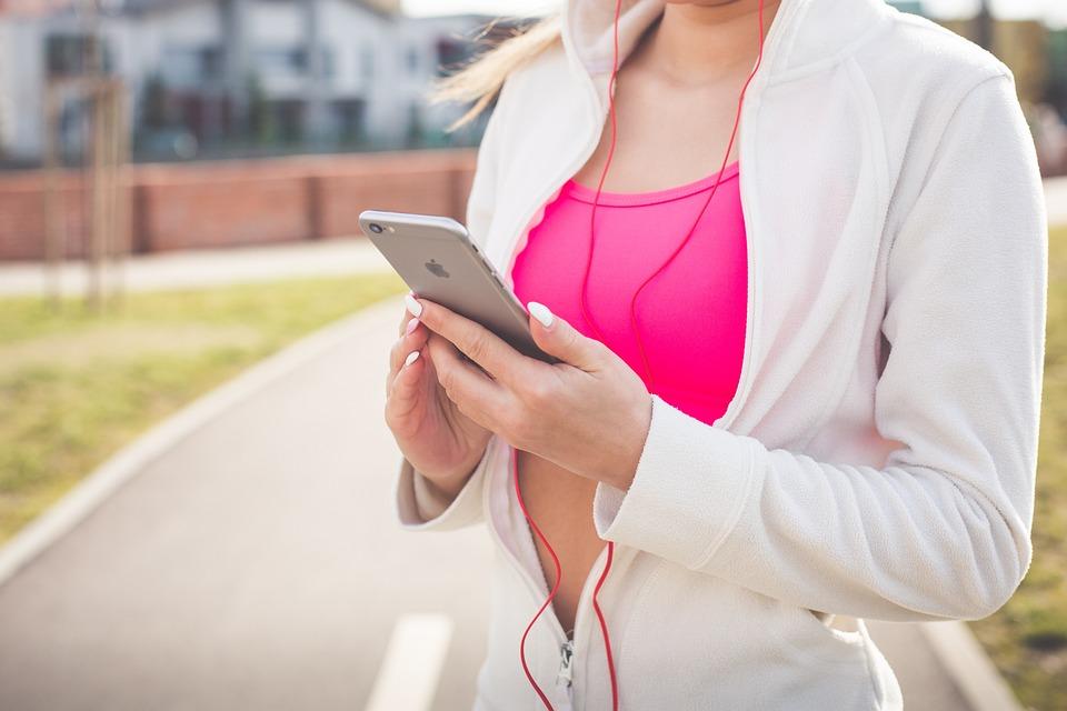 女性, 音楽, フィット, フィットネス, テクノロジー, 電話, スマートフォン, Iphone