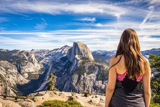 アドベンチャー, 夏時間, 環境, ハイキング, 風景, 山, 自然