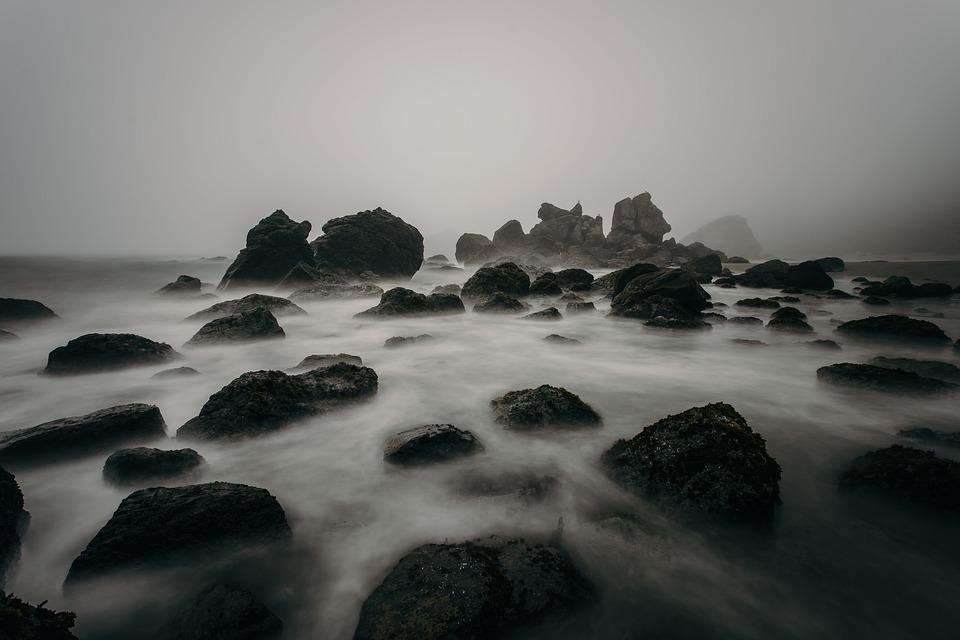 Beach, Foggy, Mist, Nature, Ocean, Rocks, Sea, Seascape