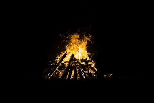 Bonfire, Burning, Dark, Fire, Flames