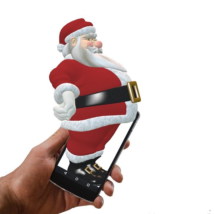 Santa, Christmas, Smartphone