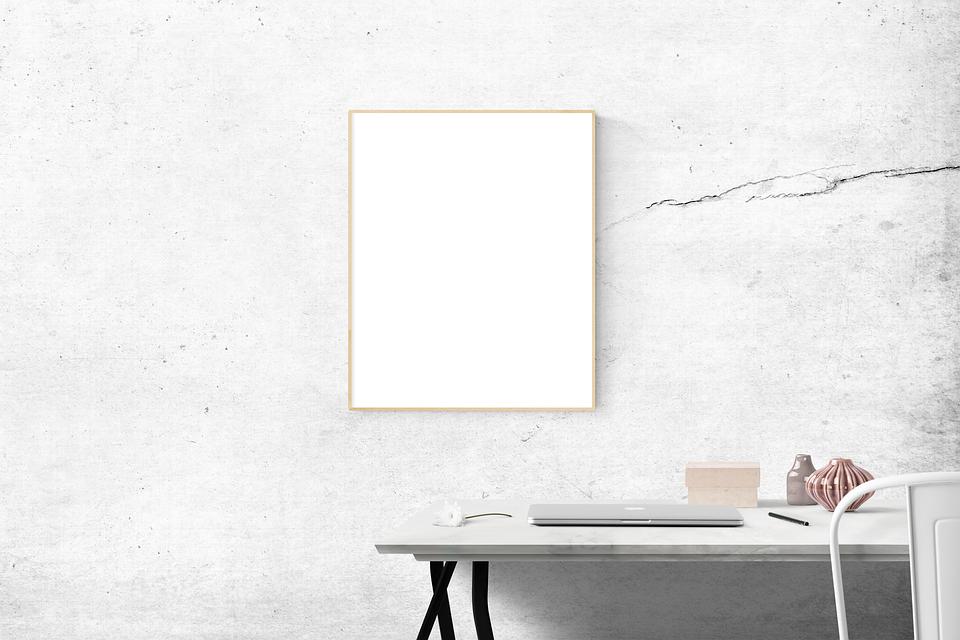空白, デスク, フレーム, 単純です, モックアップ, 現代, 家具, 屋内で, インテリア デザイン