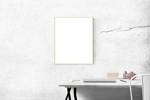 Blank, Desk, Frame, Simple, Mockup