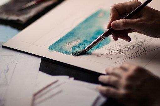 Hands, Paint, Brush, Painting