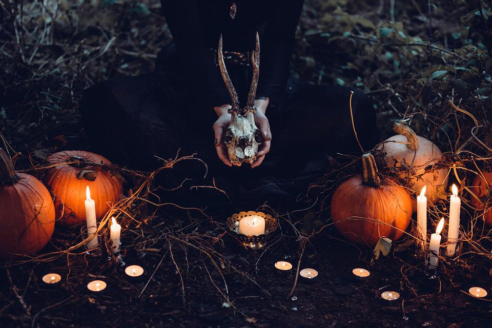 Candles, Pumpkins, Witch, Skull, Candlelight, Wicca