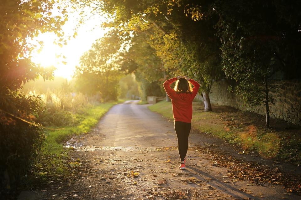Wandelen, Fitness, Meisje, Sunrise, Val, Buitenshuis