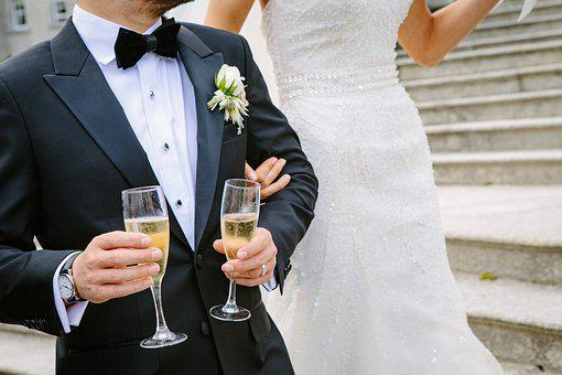 結婚式、儀、シャンパン、メガネ、新婚夫婦、結婚、再新婚