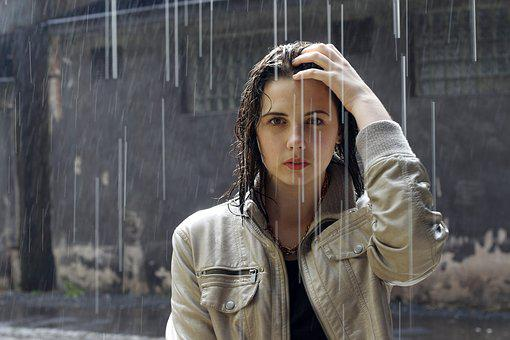Adult, Rain, Woman, Beautiful
