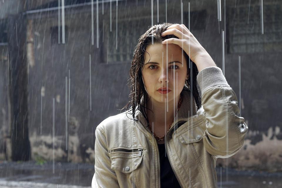 雨, 女性, ブルネット, 肖像画, 雨が降ってください, 降雨, ファッション, 女の子, ジャケット