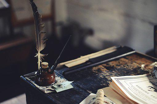 Desk, Ink, Education, Paper, Table