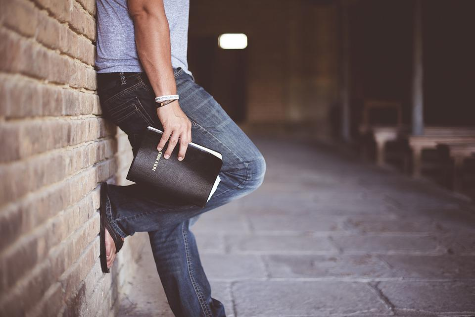 Adult, Alone, Bible, Denim Pants, Fashion, Hand, Man