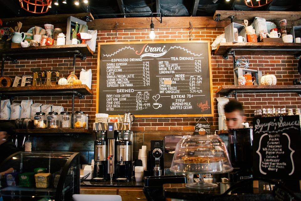 Cafe, Barista, Coffee Shop, Zähler, Kaffeemaschine