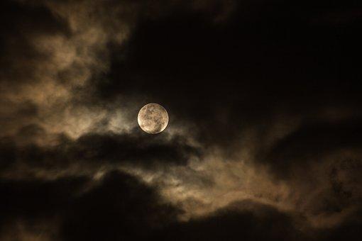 Cloudy, Dark, Full Moon, Luna, Moon