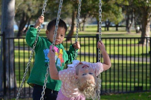 Kids, Park, Playground, Swings