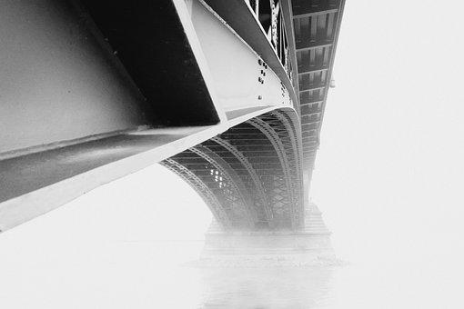 Mainz, Theodor-Heuss Bridge, Fog, Rhine