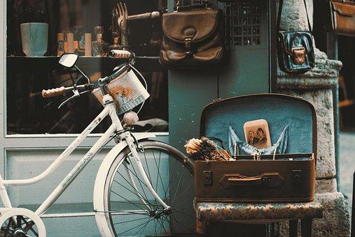 自転車, ビンテージ, 通り, ショップ, レトロ, イスタンブール, 古い