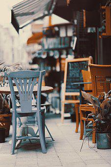 Cafe, Restaurant, Chair, Outdoors, Retro