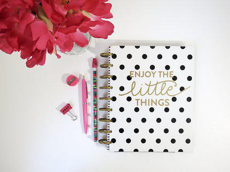 Planner, Journal, Notebook, Organizer, flowers, pens