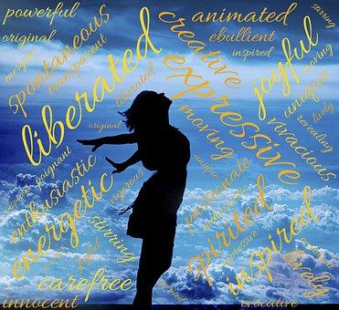 Befreit, Frau, Wolken, Himmlisch