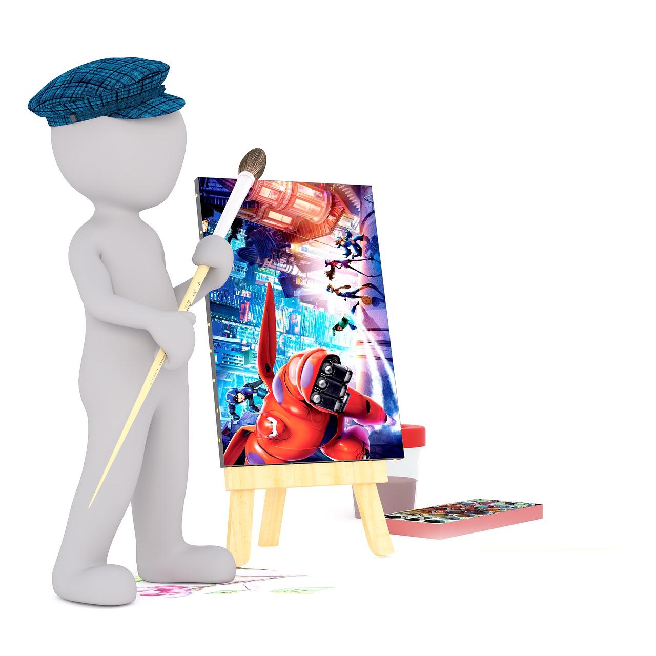 Malen, Weiße Männchen, 3D Model, Freigestellt, 3D