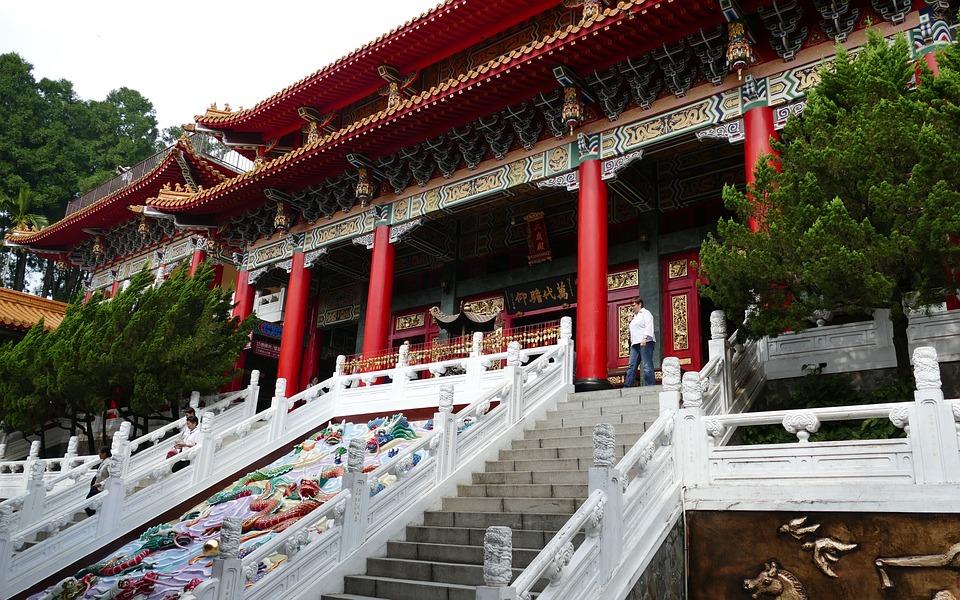 テンプル, 仏教, 道教, 台湾, 中国, 神々, 屋根, 歴史的に, 宗教, 階段, 日月潭