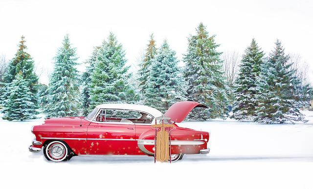 Free Photo: Red Vintage Car, Winter, Pines