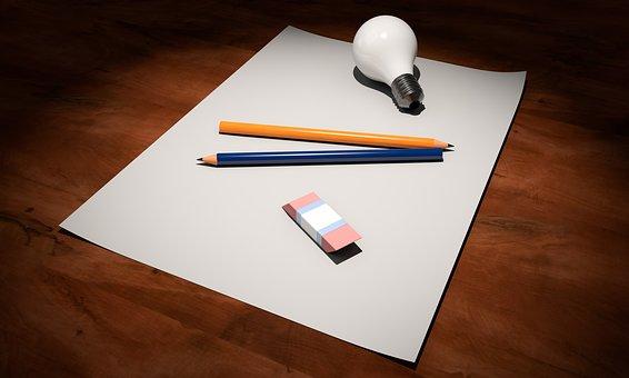 Idée, Vide, Papier, Stylo, Ampoule