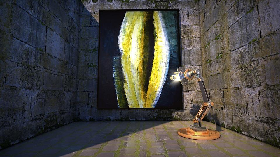 Malarstwo, Sztuka, Lampa, Robot, Złowionych, Loch