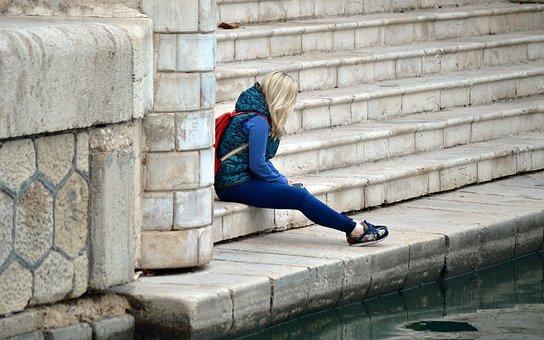 寂寞, 单, 孤独, 伤心, 悲伤, 女孩, 女子, 年轻, 抑郁, 人, 女性