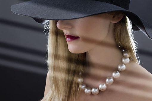 Woman, Hat, Pearls, Blonde, Hede Eyes