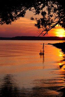 Coucher De Soleil, Pêche, Lac