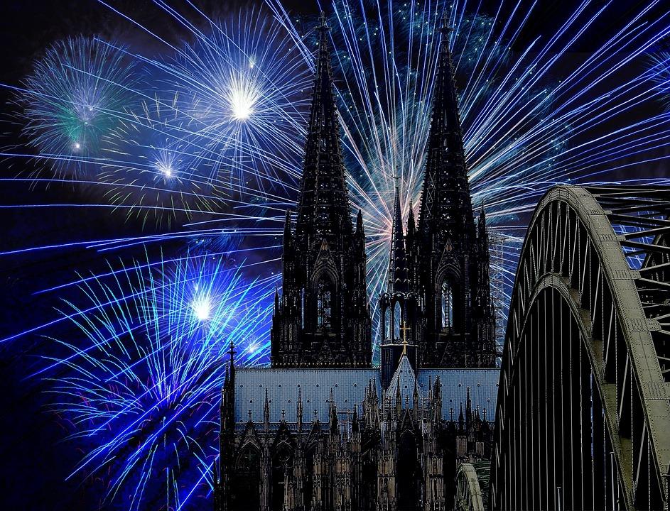 Kölner Dom, Feuerwerk, Dunkelheit, Silvester