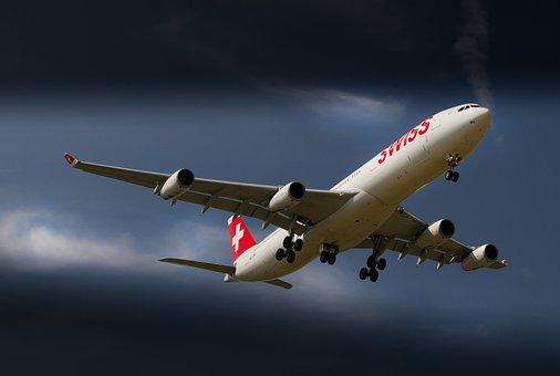 空中客车公司, 飞机, 空中客车A340, 苏黎世机场, 射流, 着陆