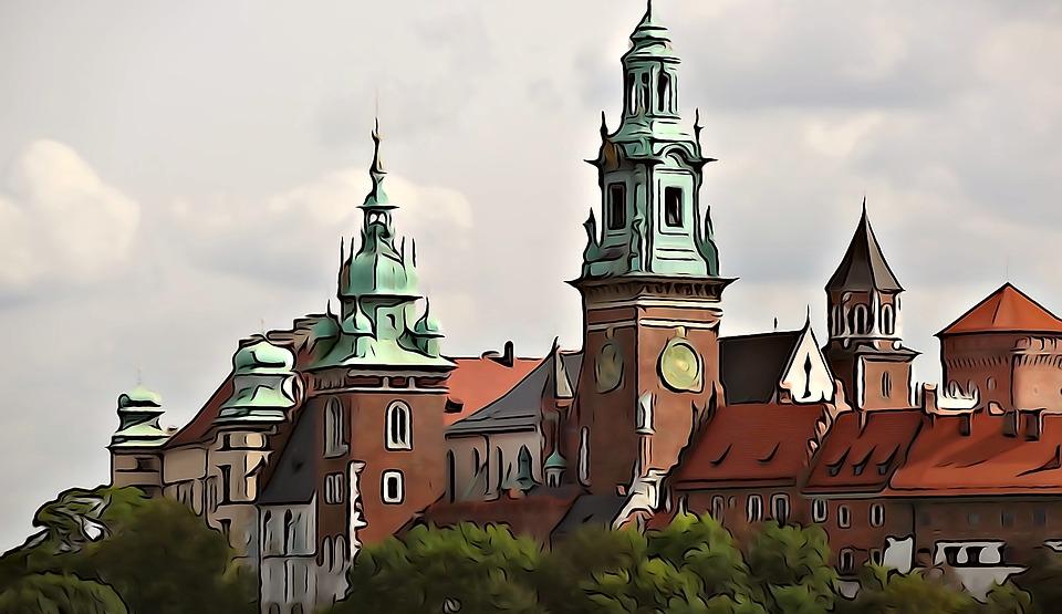 Akwarela, Obraz, Wawel, Zamek, Architektura, Kraków