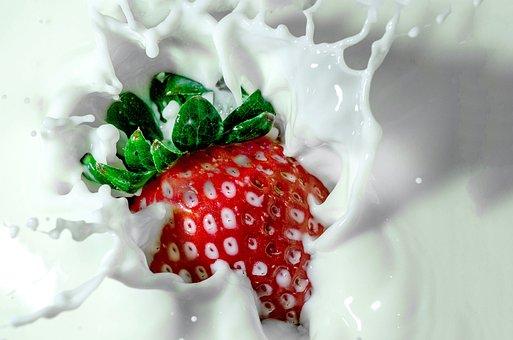 Strawberry, Milk, Splash, Berry, Fruit