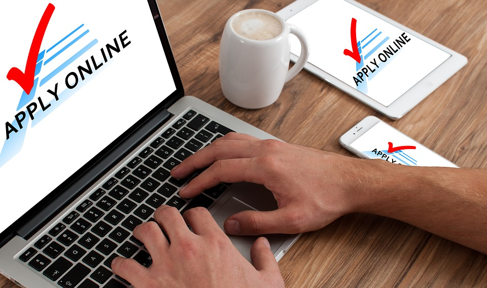 アプリケーション, オンライン, Macbook, 要求, ジョブのアプリケーション, ジョブ, 仕事