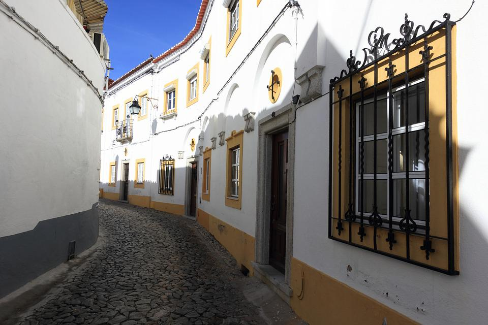 Portugal, Evora, Street, Window, Bars