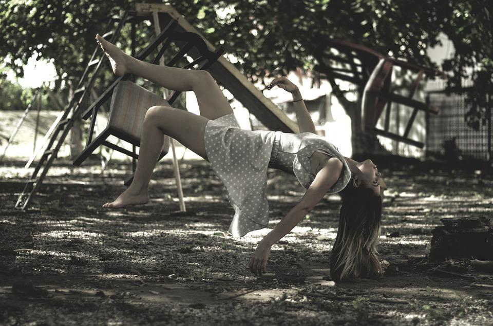 Levitation, Young Woman, In The Air, Falling Down