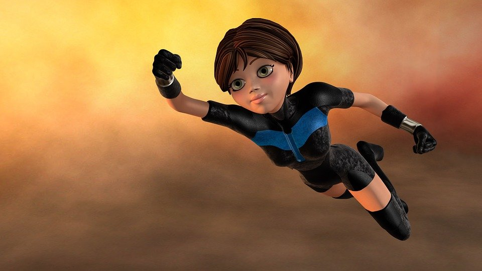 Super Woman, Female, Flying, 3D, Young, Superhero, Hero