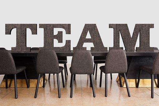 会議, チーム, オフィス, ダイニング テーブル, 椅子, 仕事, グループ