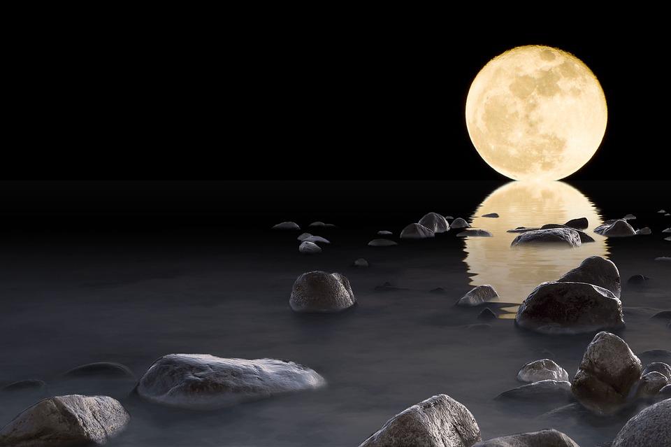 Luna, Acqua, Pietre, Roccia, Riflesso, Orizzonte, Notte