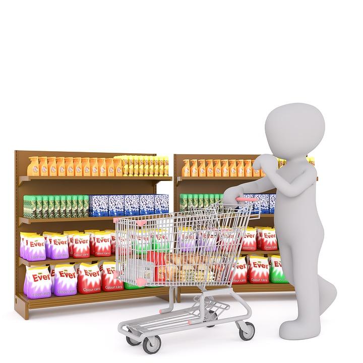 Shopping, Mâle Blanc, Modèle 3D, Isolé, 3D, Modèle