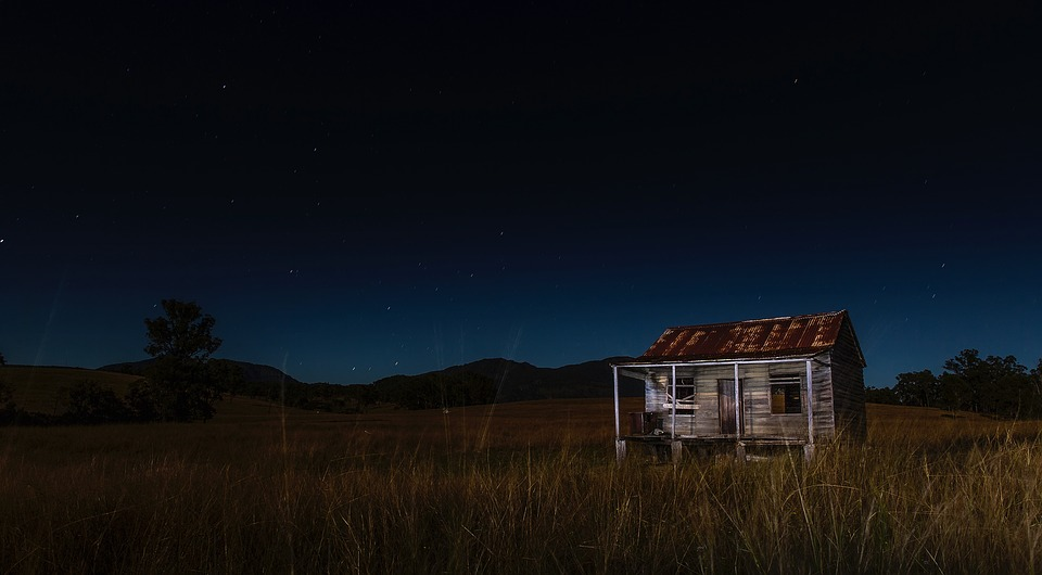 泊, 夜, キャビン, レディオシャック, 家, ホーム, 放棄された, 空, 古い, 風化した, 星, 風景